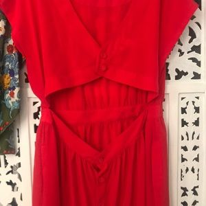 Sexy red cutout back dress with pockets & buttons
